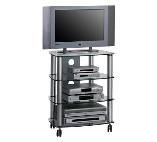 TV-RACK Metall, Glas Klar, Alufarben  - Klar/Alufarben, Basics, Glas/Kunststoff (60/74,4/46,5cm)