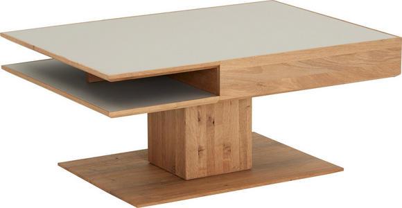 COUCHTISCH in Glas, Holz 105/75/46 cm - Fango/Eichefarben, Design, Glas/Holz (105/75/46cm) - Valnatura
