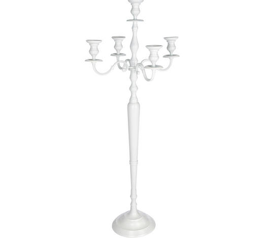 KERZENHALTER - Weiß, Basics, Metall (130cm) - Ambia Home