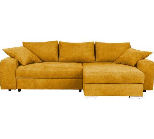 WOHNLANDSCHAFT in Textil Gelb - Chromfarben/Gelb, Design, Textil/Metall (283/179cm) - Hom`in