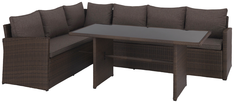 LOUNGEGARNITUR 13-teilig - Braun/Grau, Design, Glas/Kunststoff (181/239cm) - Ambia Garden