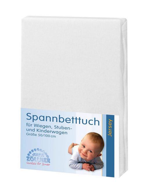 KINDERSPANNBETTTUCH - Weiß, Basics, Textil (50/100cm) - Zöllner