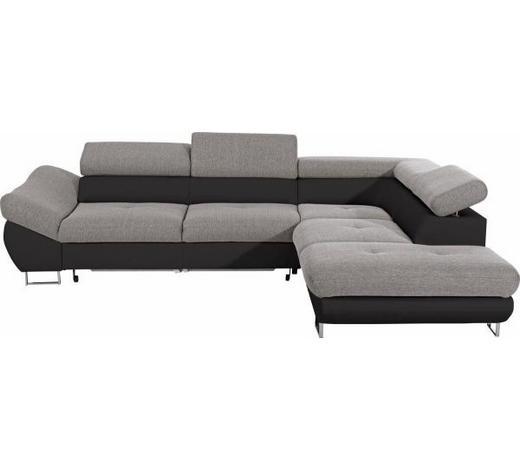 WOHNLANDSCHAFT in Textil Grau, Schwarz - Chromfarben/Schwarz, Design, Textil/Metall (280/235cm) - Hom`in