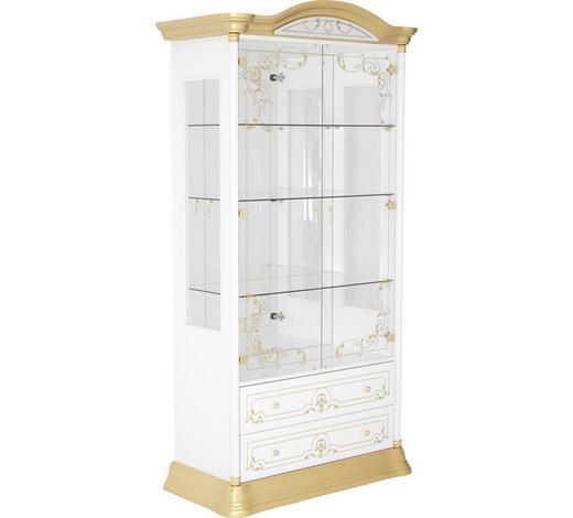 VITRINE  in Weiß, Goldfarben - Goldfarben/Weiß, LIFESTYLE, Glas/Holzwerkstoff (109/212/53cm) - Cantus
