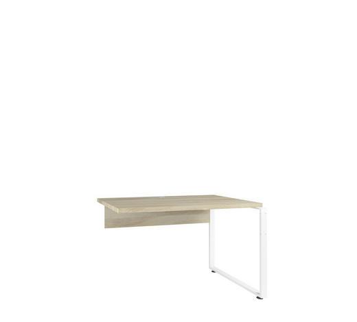 SCHREIBTISCHPLATTE Weiß, Eichefarben  - Eichefarben/Weiß, Design, Metall (120/75/70cm)