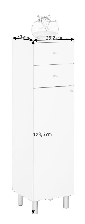 SIDOSKÅP - vit/alufärgad, Klassisk, metall/trä (35,2/123,6/33cm) - Low Price