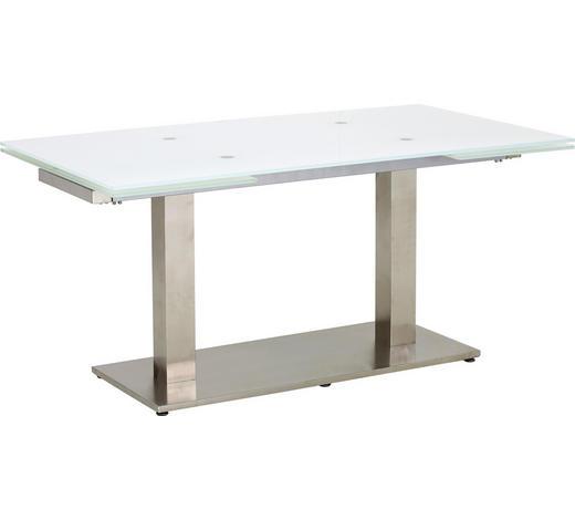 ESSTISCH rechteckig Weiß, Edelstahlfarben  - Edelstahlfarben/Weiß, Design, Glas/Metall (160(250)/90/76cm) - Dieter Knoll