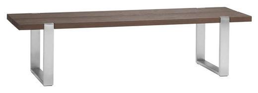 SITZBANK 148/38/37 cm - Edelstahlfarben/Dunkelbraun, LIFESTYLE, Holz/Metall (148/38/37cm) - Hasena