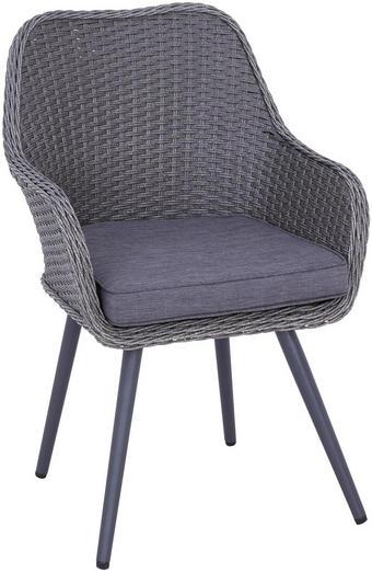 VRTNI STOL  pletivo iz umetne mase, polietilen (PE) aluminij siva - siva, Design, kovina/umetna masa (63/66/87cm) - Ambia Garden