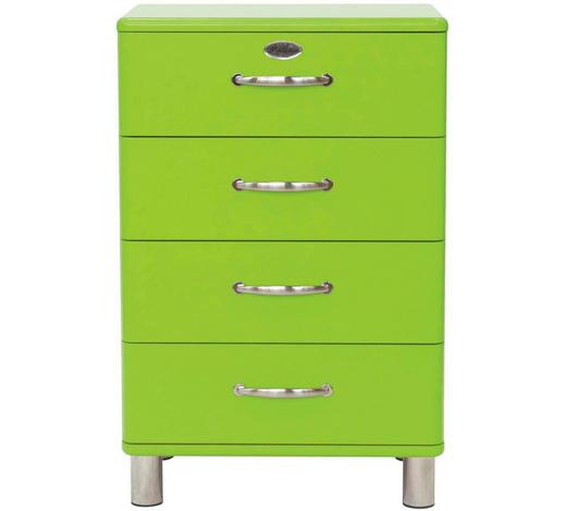 KOMMODE lackiert, Melamin Grün - Grün/Nickelfarben, Design, Metall (60/92/41cm) - Carryhome