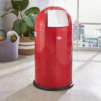 ABFALLSAMMLER PUSHBOY 50 L  - Edelstahlfarben/Rot, Basics, Kunststoff/Metall (40/75,5cm) - Wesco