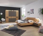 SCHLAFZIMMER Grau, Eichefarben - Eichefarben/Grau, Design, Glas/Holz (180/200cm) - Valnatura