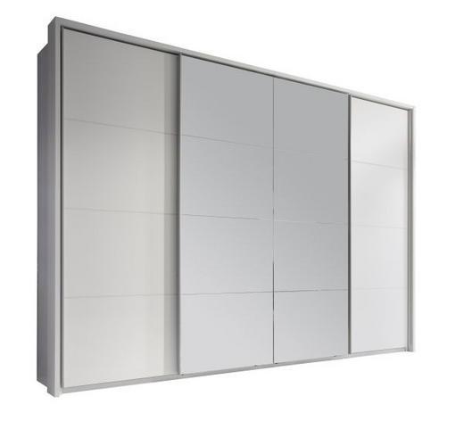 SCHIEBETÜRENSCHRANK 4-türig Weiß - Alufarben/Weiß, Design, Glas/Holzwerkstoff (325/230/61cm) - Xora