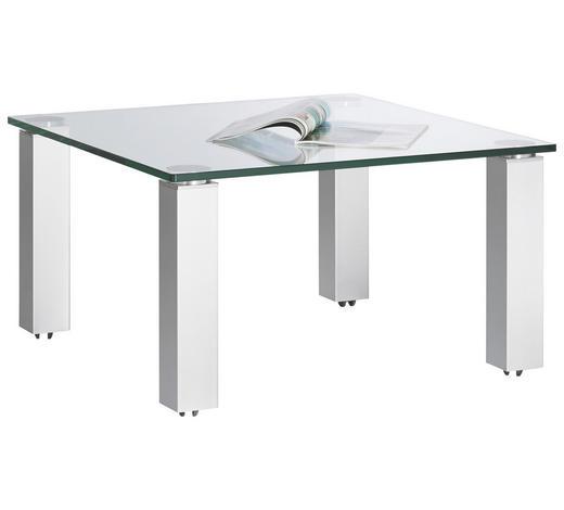 COUCHTISCH in Metall, Glas 80/80/44 cm - Silberfarben, Basics, Glas/Kunststoff (80/80/44cm)