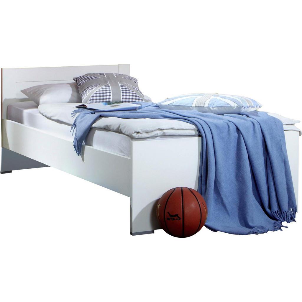 Bett 90 Cm X 200 Cm In Holzwerkstoff Weiß