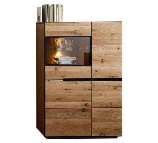 HIGHBOARD 89/136/38 cm - Eichefarben/Anthrazit, KONVENTIONELL, Glas/Holz (89/136/38cm) - Linea Natura