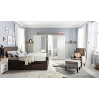 DREHTÜRENSCHRANK 5  -türig Weiß - Silberfarben/Weiß, Design, Holzwerkstoff/Metall (265/209/60cm) - SET ONE BY MUSTERRIN