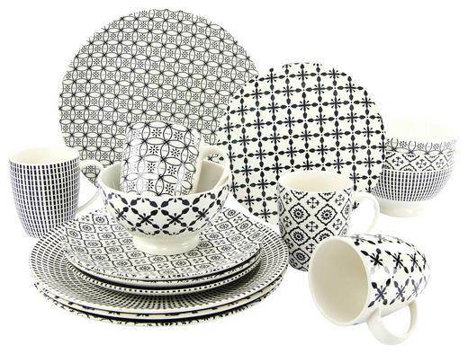 KOMBISERVICE BLACK MAGIC 16-teilig - Schwarz/Weiß, Trend, Keramik (//null) - Creatable