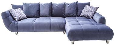 WOHNLANDSCHAFT Samt Plaid, Rücken echt, Rückenkissen - Chromfarben/Blau, Design, Kunststoff/Textil (315/215cm) - Hom`in