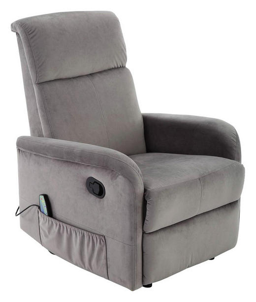 FERNSEHSESSEL Flanell Grau - Schwarz/Grau, KONVENTIONELL, Kunststoff/Textil (71/108-80/87-165cm) - Carryhome