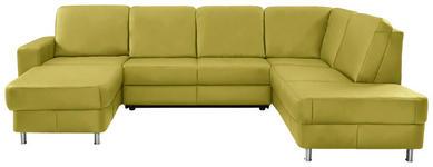 WOHNLANDSCHAFT in Gelb Leder - Chromfarben/Gelb, Design, Leder/Kunststoff (167/301/198cm) - Xora