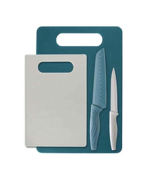MESSERSET 4-teilig - Türkis/Weiß, Design, Kunststoff/Metall - Homeware