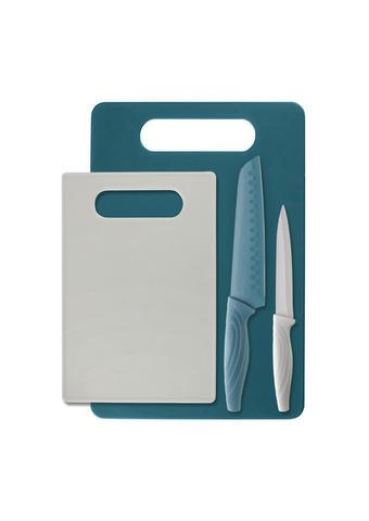 SADA NOŽŮ, 4dílné - bílá/tyrkysová, Design, kov/umělá hmota - Homeware