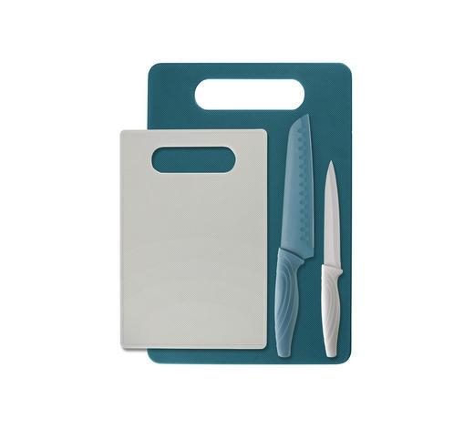 SADA NOŽŮ - bílá/tyrkysová, Design, kov/umělá hmota - Homeware