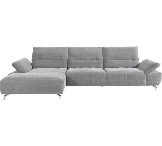 Ecksofa Anthrazit Webstoff  - Chromfarben/Anthrazit, Design, Textil/Metall (170/340cm) - Musterring
