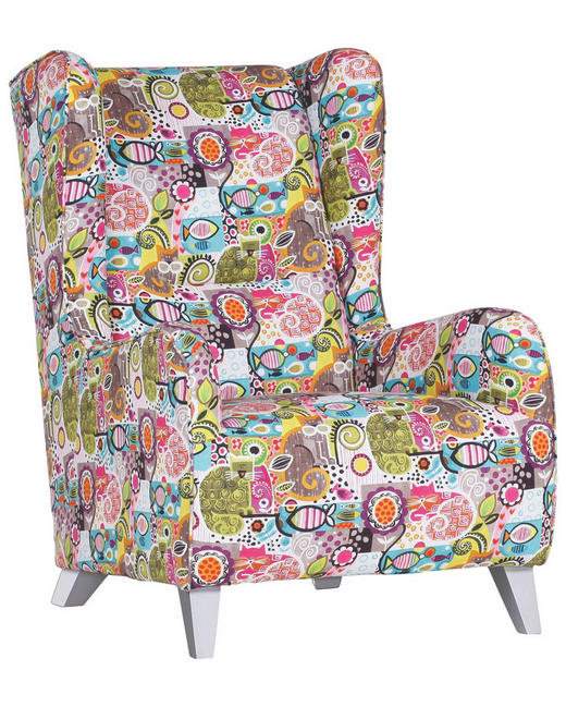 OHRENSESSEL Webstoff Multicolor - Silberfarben/Multicolor, Design, Holz/Textil (73/101/93cm) - Carryhome
