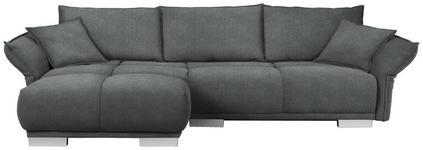 WOHNLANDSCHAFT in Textil Dunkelgrau - Chromfarben/Dunkelgrau, MODERN, Kunststoff/Textil (203/310cm) - Hom`in