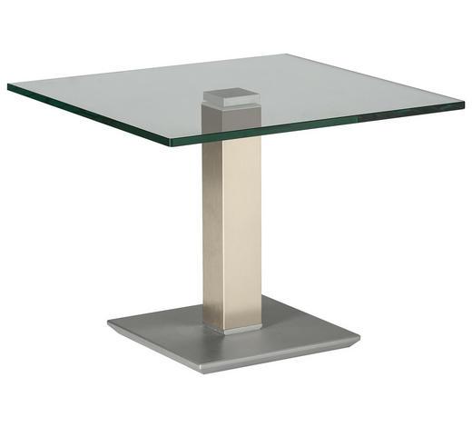 BEISTELLTISCH in Metall, Glas 60/60/46-65 cm - Edelstahlfarben/Creme, Design, Glas/Kunststoff (60/60/46-65cm)