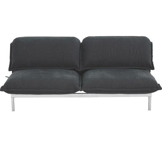 SOFA Dunkelgrau  - Dunkelgrau/Silberfarben, Design, Textil/Metall (200cm) - Rolf Benz