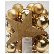 CHRISTBAUMKUGEL-SET 33-teilig - Goldfarben, Basics, Kunststoff (5cm)