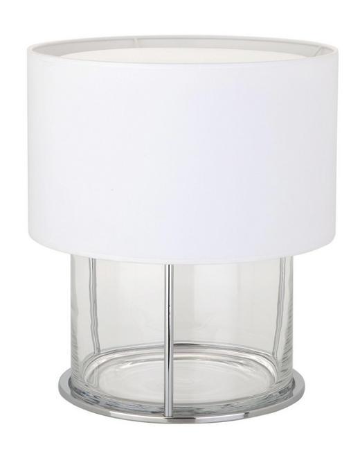 TISCHLEUCHTE - Chromfarben/Weiß, MODERN, Glas/Textil (32/36cm)
