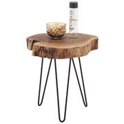 ODKLÁDACÍ STOLEK - černá/barvy akácie, Trend, kov/dřevo (46/50/48cm) - Ambia Home