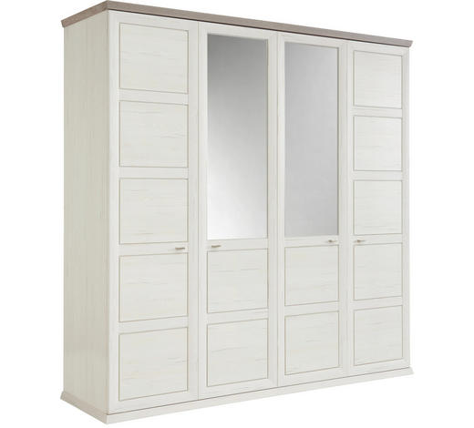 Drehtürenschrank in Grau, Weiß - Weiß/Grau, Lifestyle, Glas/Holzwerkstoff (205/209/60cm) - Hom`in