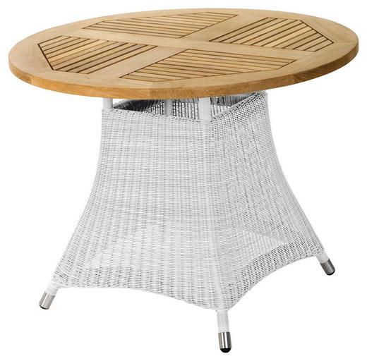 GARTENTISCH Holz, Kunststoff, Metall Alufarben, Teakfarben, Weiß - Alufarben/Weiß, Design, Holz/Kunststoff (100/75cm) - Zebra Süd