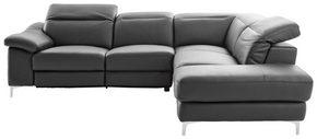 SOFFA - kromfärg/svart, Design, läder/textil (267/219cm) - Cantus