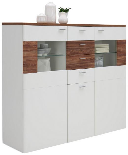 HIGHBOARD 150/134/44 cm - Eichefarben/Silberfarben, KONVENTIONELL, Glas/Holzwerkstoff (150/134/44cm) - Xora