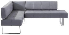 ECKBANK Mikrofaser Buche massiv Grau, Edelstahlfarben  - Edelstahlfarben/Grau, Design, Holz/Textil (165/227cm) - Moderano