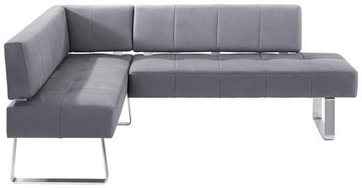 ECKBANK 165/227 cm  in Grau, Edelstahlfarben - Edelstahlfarben/Grau, Design, Holz/Textil (165/227cm) - Moderano