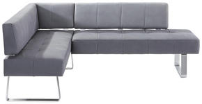 ECKBANK Mikrofaser Grau, Edelstahlfarben  - Edelstahlfarben/Grau, Design, Textil/Metall (165/227cm) - Moderano