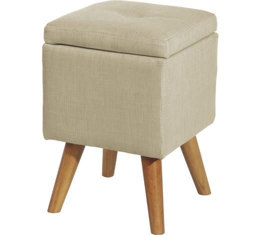 HOCKER Beige Mikrofaser - Beige/Naturfarben, Design, Holz/Textil (31/44/31cm) - Carryhome