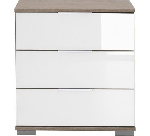 NACHTKÄSTCHEN in Weiß, Eichefarben - Eichefarben/Alufarben, Design, Glas/Holzwerkstoff (52/58/38cm) - Carryhome