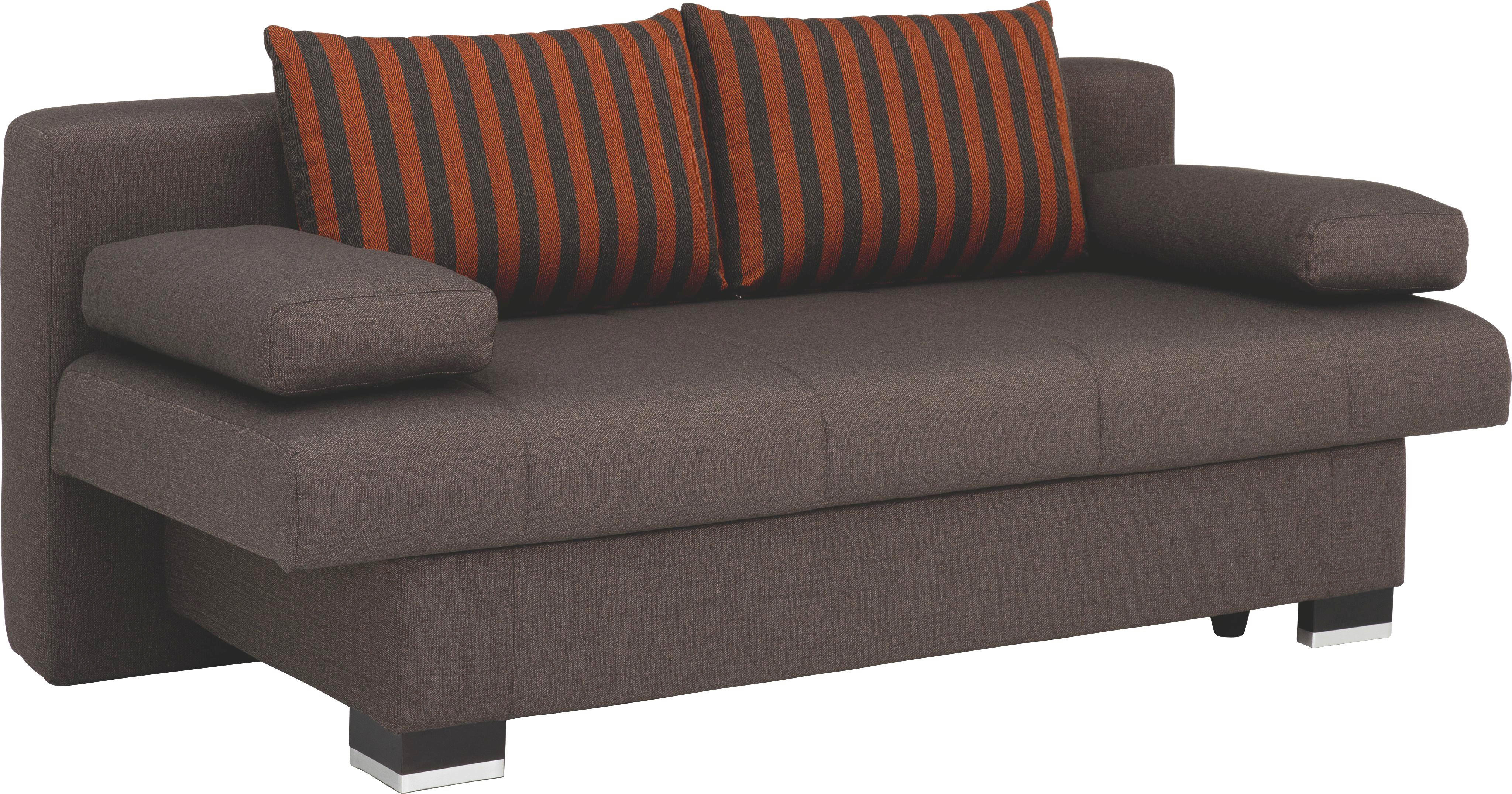 SCHLAFSOFA Braun, Orange, Schwarz - Wengefarben/Schwarz, KONVENTIONELL, Holz/Textil (200/92/104cm) - NOVEL