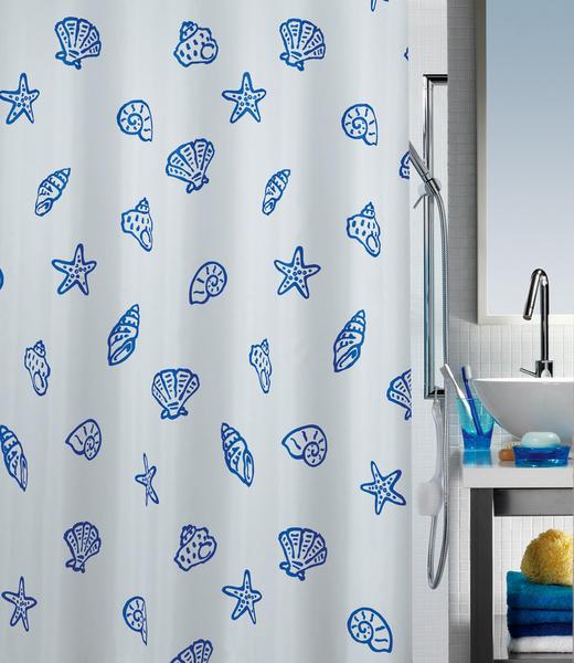 DUSCHVORHANG  Blau, Weiß - Blau/Weiß, Basics, Textil (180/200cm) - SPIRELLA
