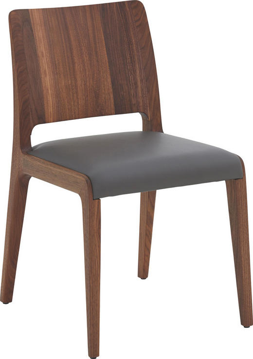 STUHL in Holz, Leder Grau, Nussbaumfarben - Nussbaumfarben/Grau, MODERN, Leder/Holz (49/81/52cm)