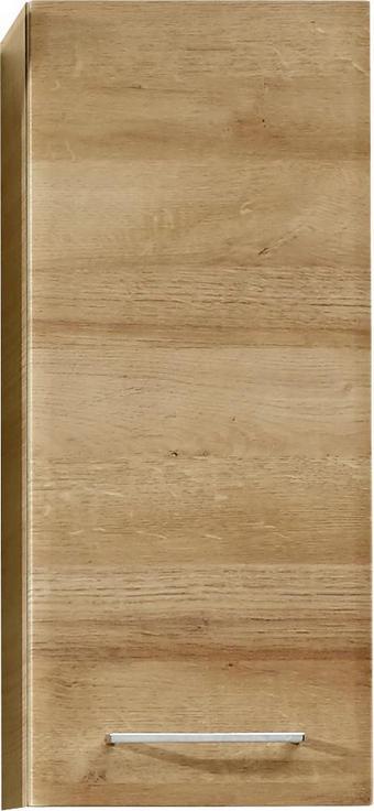OBERSCHRANK Eichefarben - Chromfarben/Eichefarben, KONVENTIONELL, Glas/Holzwerkstoff (30/70/20cm) - Xora