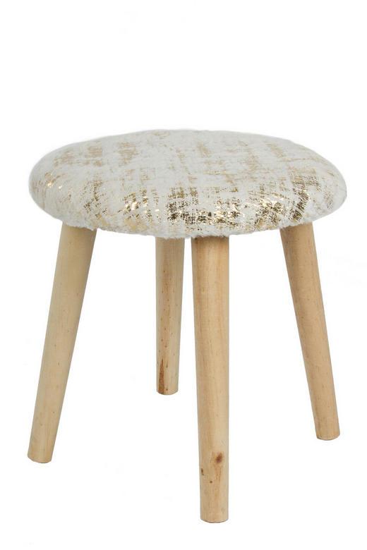 HOCKER Tanne Beige, Goldfarben - Beige/Goldfarben, Holz/Textil (34/35cm)